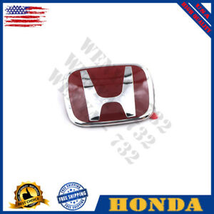 Raised Red H Front Grille Emblem Fit 2016 21 Honda Civic Hatchback Sedan 4dr Jdm