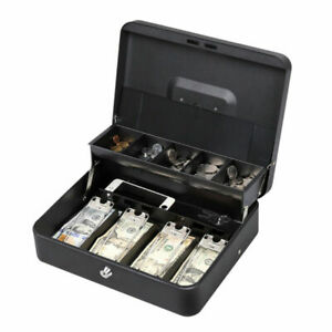 Portable 11 8 Cash Box With Money Tray Lock 5 Compartment Key Tiered
