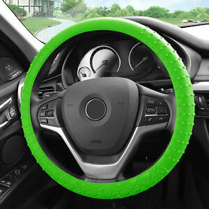 Silicone Steering Wheel Cover Nibs Sturdy Massage Grip Green For Auto