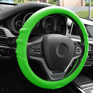 Green Steering Wheel Cover Silicone For Auto Car Suv Universal Fitment