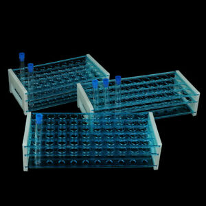 1 10x Plastic Test Tubes Vials With Caps Pipe Rack Holder Stand 40 50 Ho G3