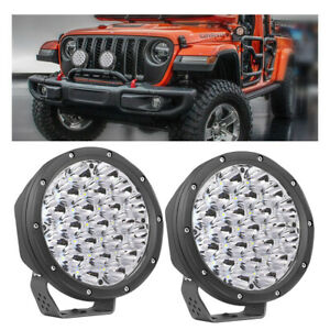 Pair 7inch Round Led Driving Light Bull Bar Headlamps Front Bumper Roof Offroad