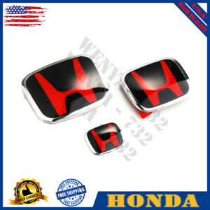 3 Jdm Honda Civic Sedan 4dr 16 20 Red Black H Front Rear Type R Grille Emblem