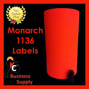 Red Labels For Monarch 1136 Price Gun One Sleeve Ink Roller Included