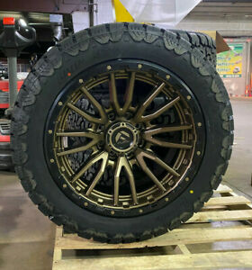 22x10 Fuel D681 Rebel Bronze Wheels 34 Amp At Tires 6x135 Ford F150 Expedition