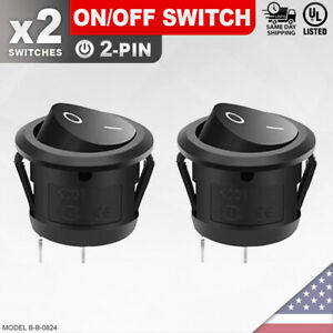 2 Pack Heavy Duty On off Switch 2 pin Toggle Rocker Push Button Led Car Spst