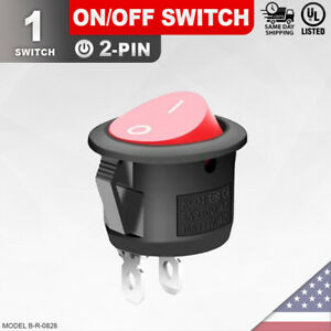 Heavy Duty Red On off Switch 2 pin Toggle Rocker Push Button Led Car Spst