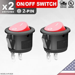 2 Pack Heavy Duty Red On off Switch 2 pin Toggle Rocker Push Button Led Car Spst