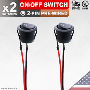 2 Pack Heavy Duty On off Pre wired Switch 2 pin Toggle Rocker Push Button Spst