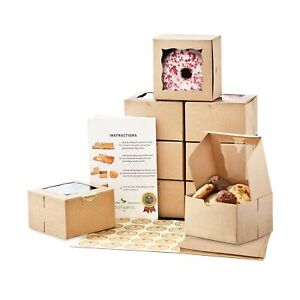 Premium Cookie Boxes With Window 50 Pack Extra Thick Oil Resistant 4x
