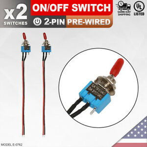 Heavy Duty On off Pre wired Switch 2 pin Toggle Rocker Wire Push Button Spst