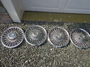 1965 1966 1967 Ford 14 Wire Wheel Hubcaps Mustang Fairlane Thunderbird Set Of 4