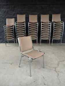 49 United Chair Banquet Church Convention Stacking Padded Chairs Beige Chrome