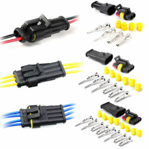 10set 2 3 4pin Way Sealed Waterproof Electrical Wire Connector Plug Car Auto Kit
