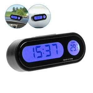 Car Lcd Digital Led Electronic Clock Time Thermometer With Backlight 12v Us