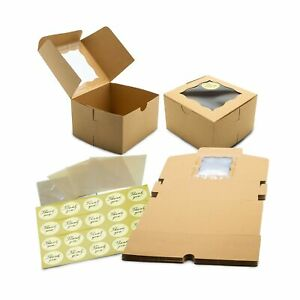 50 Pack Display Window Brown Bakery Boxes For Small Cake Cookie Dessert Do
