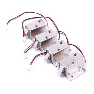 4pc Dc 12v Electric Solenoid Lock Tongue Upward Assembly For Door Cabinet Drawer