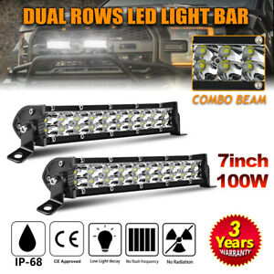 Dual Row Led Light Bar 7inch 100w Spot Flood Off Road Driving Light For Ford 8