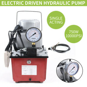 110v 750w Electric Driven Hydraulic Pump Single Acting Manual Valve 10000psi New