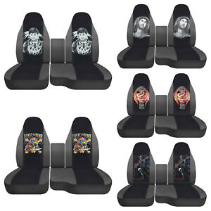 Fits Ford Ranger1991 2012 truck Car Seat Covers 60 40 Charcoal blk Wolves skull