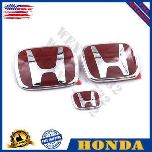 3x Jdm Honda Civic Sedan 4dr 06 15 Red H Front Rear Steering Emblem Grille Ome