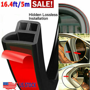 5m L Shape Car Door Rubber Seal Weatherstrip Hood Trunk Edge Moulding Trim