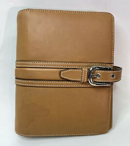 Franklin Covey Tan Top Grain Leather 6 ring Compact Binder Planner 6x7 5 Buckle