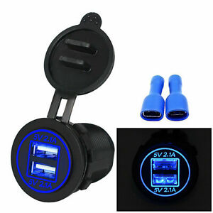 12v Car Cigarette Lighter Socket Dual 2 1a Usb Port Charger Power Outlet Led