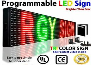 Digital Led Signs Tri Color 6 X 25 Shop Store Scroll Text Display
