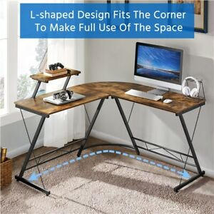 L shaped Computer Desk Gaming Desk Writing Pc Workstation With Monitor Stand