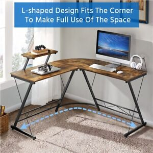 L shaped Computer Desk Corner Writing Pc Workstation With Monitor Stand For Home