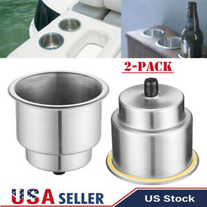 2 Pcs Universal Cup Drink Holder Marine Boat Car Truck Camper Rv Stainless Steel
