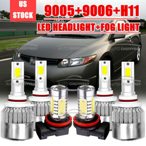 For Honda Civic 2006 2015 Led Headlight High Low Beam Fog Light Combo Bulbs Kit