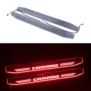 Red Led Door Scuff Plate Trim Pedal Sill Moving Light For Chevrolet Camaro 2012