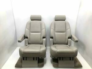 Rear Second 2nd Row Captain Chairs Lh Rh Tan Leather 83607 14 Tahoe Yukon