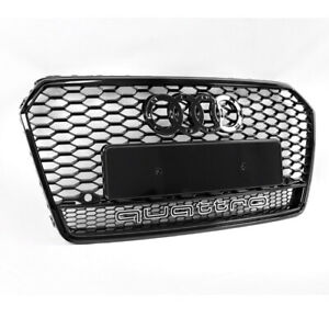 Front Glossy Black Mesh Rs7 Style Grille Grill For 2016 2018 Audi A7 Quattro S7