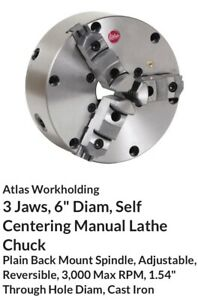 Atlas 3 Jaw 2pc Metal Lathe Chuck With 1 1 2 8 Tpi Backing Plate Southbend