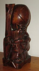 Vintage Asian Wood Hand Carved Figurine Statue Immortal Longevity Size 8 T