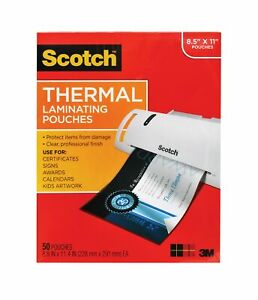 Scotch Thermal Laminating Pouches 8 9 X 11 4 inches 3 Mil Thick 50 pack t