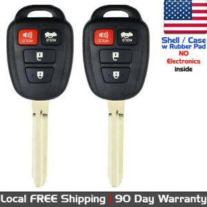 2x New Replacement Keyless Entry Remote Key Fob Case For Toyota Shell Only
