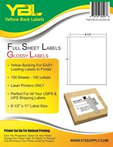 Closeout Ybl Glossy Full Sheet Labels 8 5 X 11 100 Labels For Laser Printer