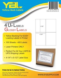 Closeout Ybl Glossy 4 Up Labels 4 25 X 5 5 400 Labels pack For Laser Printers