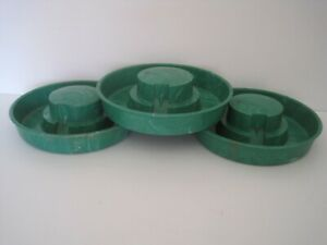 Lot Of 3 Vintage Little Giant Chicken Waterers Green Marbled Plastic No 754