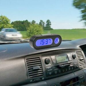 Lcd 2 In 1 Car Auto Digital Led Electronic Time Clock Thermometer 12v Backlight