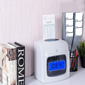 Time Clock Electronic Record Machine Punch Card Hours Recorder Track Lcd Display