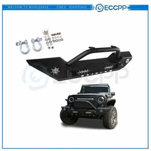 Front Bumper For Jeep Wrangler Jk 2007 2018 Steel Led Lights Winch Guard