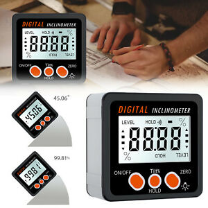 4 90 Digital Level Box Gauge Lcd Protractor Magnetic Inclinometer Angle Finder
