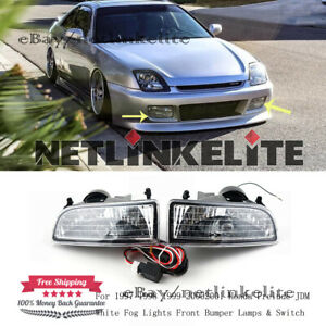 For 1997 1998 2001 Honda Prelude Jdm White Fog Lights Front Bumper Lamps Switch