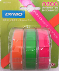 Dymo Self adhesive Glossy Labeling Tape For Embossers 0 37 X 9 8 Ft Rolls Neon