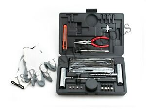 64 Pieces Tire Repair Tool Kit W Case Plug Patch New